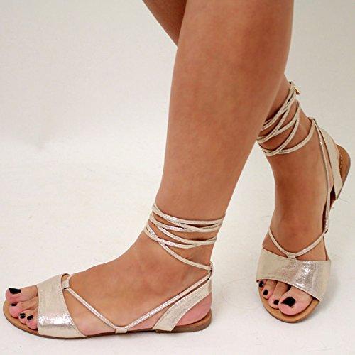 Sandales plates femmes - style spartiates - lanières/à nouer - aspect métallique Doré Brillant J5MzY