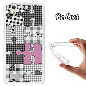 BeCool® - Funda Gel Flexible ZTE Blade A570 Puzzle Negro y Rosa Carcasa Case Silicona TPU Suave