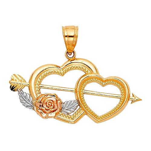 TGDJ 14K Gold Two Tone Cupid Arrow Heart Shaped Charm Pendant (PT418) ()