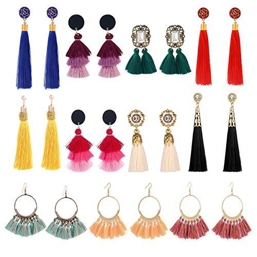 LANTAI 11 Pairs Colorful Long Flower Fringle Tassel Earrings Set-3 Layer Tassel Fan Bohemia Earrings for Women Girls Gold Silver Gift Jewelry ()
