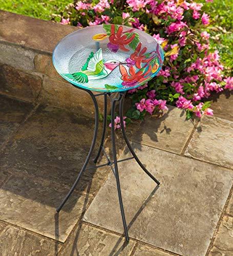 Plow & Hearth Hummingbird Flutter Glass Birdbath with Metal Hourglass ()