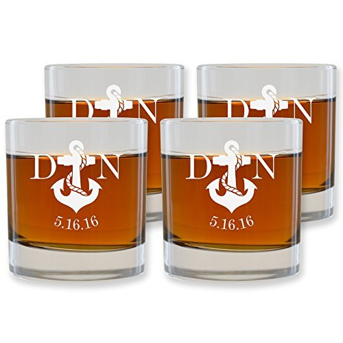 Old Nob Hill Fashioned (Scotch Whiskey Glasses Set of 4 by Froolu Personalized Engraved Scotch Nob Hill 10.25 oz. Rocks/Old Fashioned Glasses)