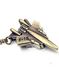 Lancardo Men's F-18 Fighter Shape Bronzy Color Pocket Watch with Gift Bag