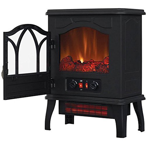 Cheap (US Stock) Electric Infrared Fireplace Freestanding Quartz Stove Heater 5 200 BTU Portable media center Black Metal with 3D Flame Effect Black Friday & Cyber Monday 2019