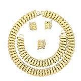 MOOCHI 18K Gold Plated Scorpion Chain Rhinestones Choker Style Necklace Bracelet Earrings Jewelry Set for Women Men Girls Costume Statement Wedding Anniversary Accessories