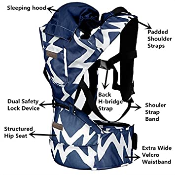 LaNova Baby Carrier with Hood Front and Back Adjustable Straps Comfort Pads for Women and Men Cotton Fabric Perfect for Growing Kids Boys and Girls from 12-35 lbs 55 Maximum Adjustable Waist Blue
