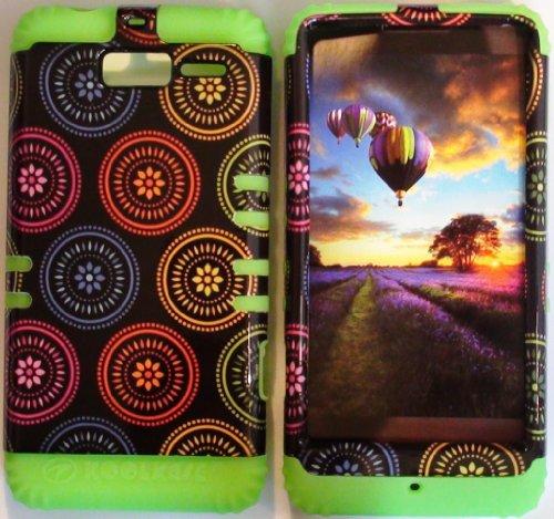 Cellphone Trendz (TM) Hybrid Rocker High Impact Bumper Case Colorful Circular Aztec Tribal / Lime Green Silicone for Motorola Droid Razr M (XT907, 4G LTE, Verizon)