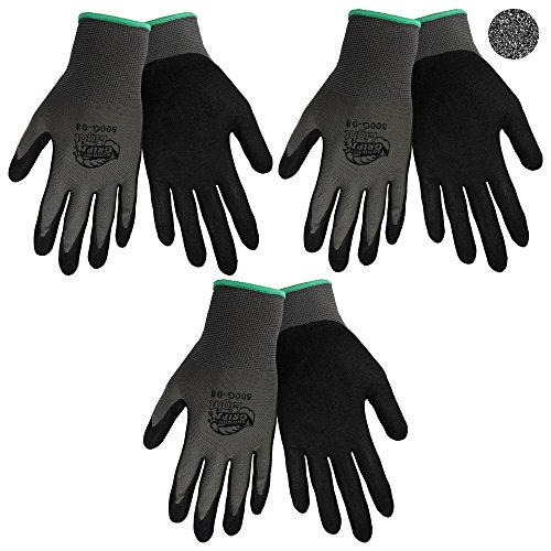 Tsunami Grip 500G Light Weight Nitrile Grip Work Gloves with Gray Nylon Shell and Black Mach Nitrile Dipped Coating on Palm and Fingers, Size XX-Large (3) (Tsunami Grip)