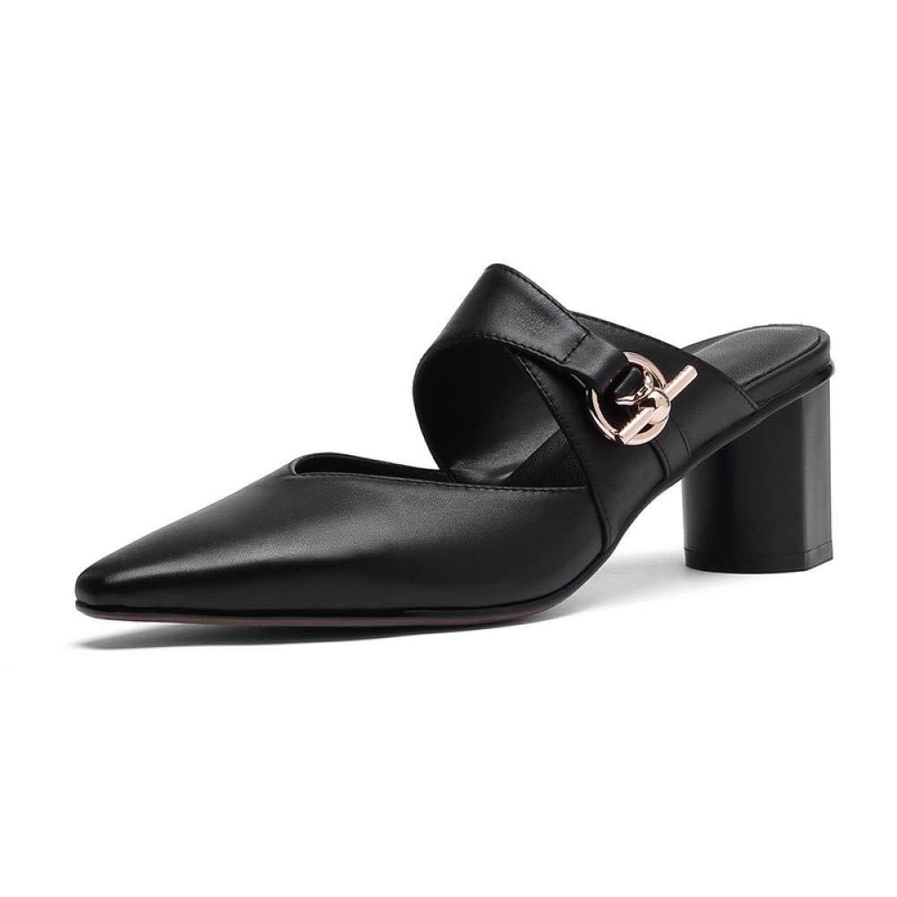 PINGXIANNV Damenmode Hausschuhe Leder Spitz High Heel Schnalle Schuhe Damen Party Schuhe B07NY62V7M Tanzschuhe Bekannt für seine gute Qualität