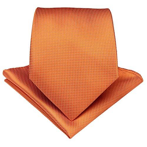 (DiBanGu Solid Tie and Pocket Square Men's Woven Necktie Silk Handkerchief Sets (Orange))