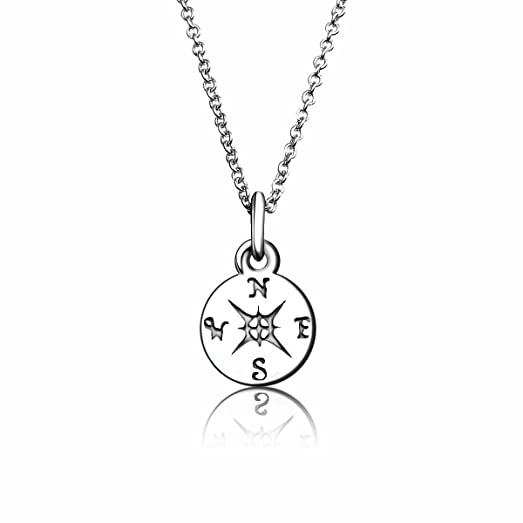 Amazon pendant necklace charminer sterling silver compass pendant necklace charminer sterling silver compass pendant small dainty necklace graduation gift 18 aloadofball Choice Image
