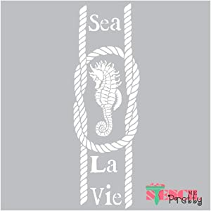 Stencil - Seahorse & Nautical Rope DIY Beach Sign Best Vinyl Large Stencils for Painting on Wood, Canvas, Wall, etc.-XS (3.5