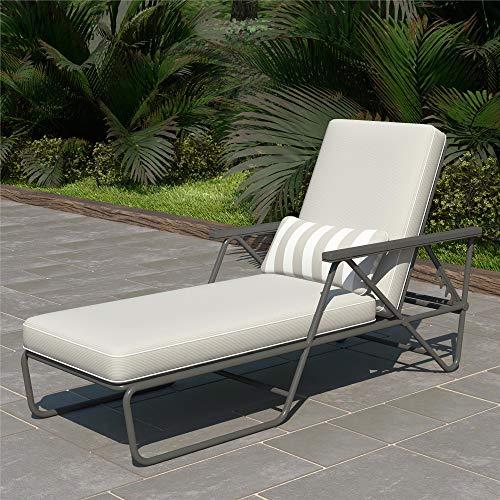 Novogratz 88063CWG1E Poolside Connie Outdoor Chaise Lounge, Gray