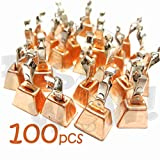 100pcs Fish WOW! Fishing Copper Bell Alert with Eagle Clamp Clips Baits Alarm Bells