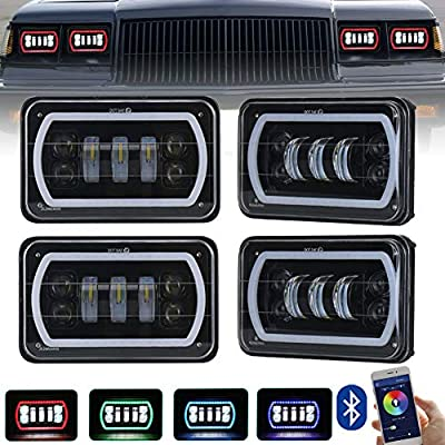 ZJUSDO 4x6 Led Headlights with White RGB Halo Music Mode Seal Beam Replace H4651 H4656 H4666 Rectangular Led Headlight for Truck Peterbilt Kenworth Ford Chevrolet Oldsmobile