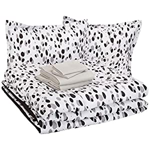 AmazonBasics Easy Care Super Soft Microfiber Kid's Bed-in-a-Bag Bedding Set - Full / Queen, Black Shadow Dots 9