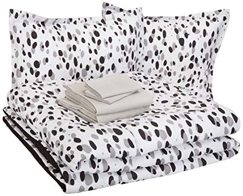 AmazonBasics Easy Care Super Soft Microfiber Kid's Bed-in-a-Bag Bedding Set - Full / Queen, Black Shadow Dots 1