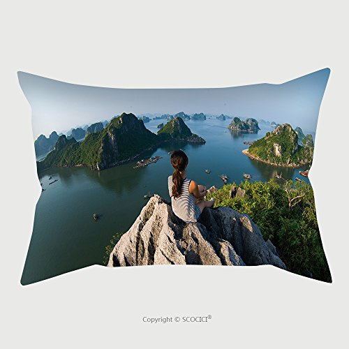 Traveler Beauty Case (Custom Microfiber Pillowcase Protector A Young Traveler Girl Sit On The Top Of Mountain In Halong Bay And Enjoy The Beauty Of Seascape 298757792 Pillow Case Covers Decorative)