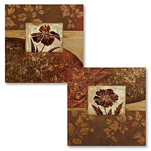 At Waters Edge I Lovely, Vintage Burgundy and Gold Flowers; Floral Decor; Two 12X12 Poster Prints Burgundy Gold Art Print