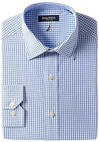 Nautica Men's Check Spread Collar Dress Shirt, Light Blue, 15