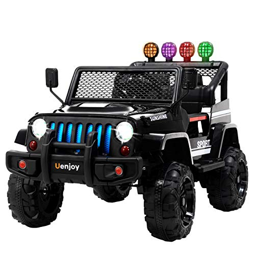 Uenjoy Kids Ride on Cars with Remote Control New Camouflage Color W/ Spring Suspension, Music, Story Playing, Colorful Lights, Sunshine Model, Camo Blue