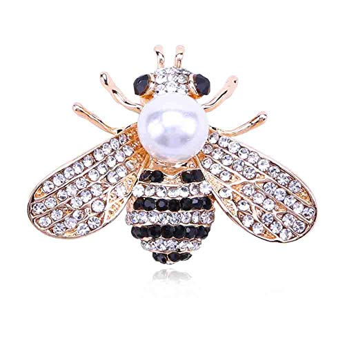 YYINHUI Bee Brooch Women brooches Jewelry Gift Animal Rhinestone Crystal Insect Themed Animal Fashion Alloy Pearl Brooch Safety Pin Cute Clothes Accessories Designed Shape Gold
