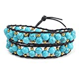 Olive Tayl Handmade Weaving Leather Wrap Bracelet Two-Layer Semi-Precious Stones Beaded Bracelelt Women's Jewe