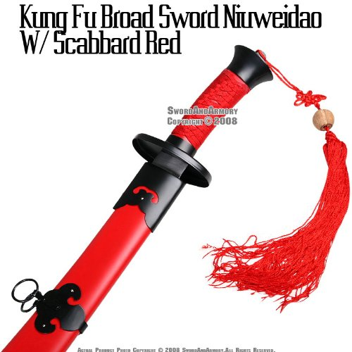 "Ace Martial Arts Supply 37"" Chinese Blade Broad Sword With Red Tassels and Scabbard …"