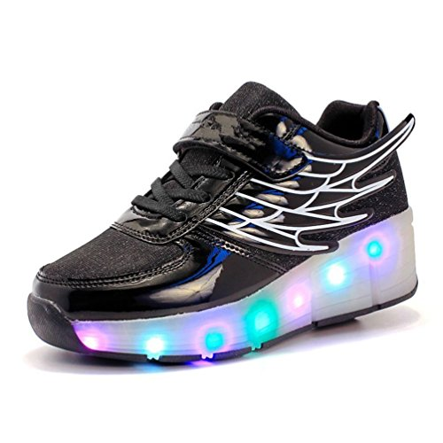 Batman Light Up Shoes (Wings Glowing Shoes Luminous Light Up Girls LED Kids Shoes Flashing Sneaker (Black-2.5 M US Little Kid))