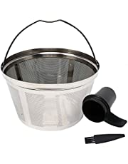 GOLDTONE Stainless Steel Coffee Filter - 8-12 Cup Basket Reusable Metal Filter for Mr. Coffee and Black and Decker Machines - Includes Scoop and Brush…