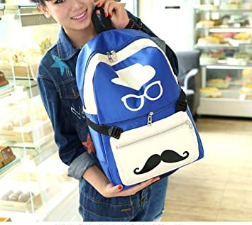 563e78abf8 Unisex Boys And Girls Fashion Funny Style Mr Moustache Patterned PU Leather  Leisure Backpack Funky Outdoor Backpack Hot Hiking Backpack Travel Rucksack  Hot ...