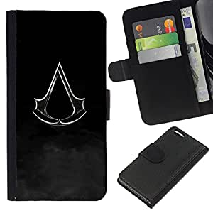 """A-type (Bandera Assassin"""") Colorida Impresión Funda Cuero Monedero Caja Bolsa Cubierta Caja Piel Card Slots Para Apple iPhone 5C"""