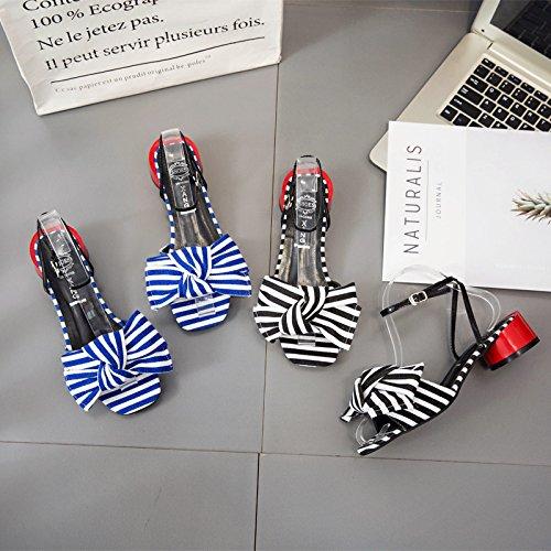 strisce da incrociate mode scarpe black RUGAI dolci Papillon sandali sandali cravatte estive donna UE aZw8q4x