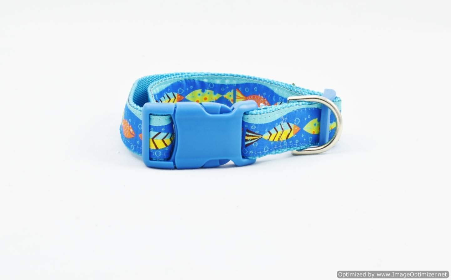 Custom Premium Jacquard Summer DOG COLLAR Adjustable Tropical Fish Beach Theme