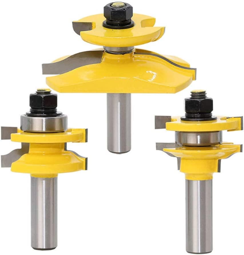 """DBoyun Shaker 3 Bits Ogee Rail and Stile Raised Panel Cabinet Door Router Bits Set with 1/2"""" Shank"""