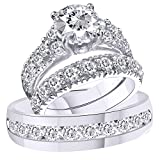 2heart 3.75 Ct Diamond 14k White Gold Fn Trio Engagement Wedding Ring Set For His & Her