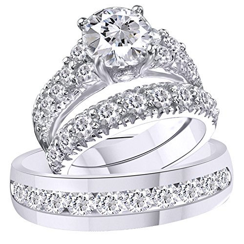 Silvostyles 3.75 Ct Diamond 14k White Gold Fn Trio Engagement Wedding Ring Set For His & Her by Silvostyles