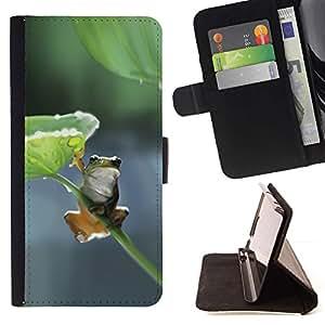 Feuille Nature Direction Vert Gris - Modelo colorido cuero de la carpeta del tirón del caso cubierta piel Holster Funda protecció Para Samsung Galaxy A5 ( A5000 ) 2014 Version