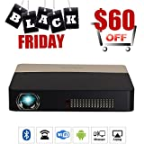 Pico 3D DLP Bluetooth Projector Mini Dual WiFi Full HD 1080P Projector Portable Built-in Battery Airplay Screen Mirroring for iPhone Smartphone for Home Cinema Outdoor Theater Business Education PPT