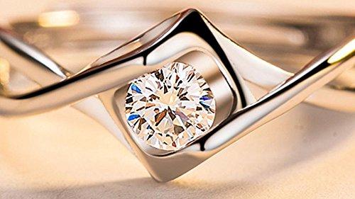 CAOLATOR Anillo de Plata de Diamante en forma de Corazón de Ángel Diamantes Abierto Metal-Ajustable Para Mujer