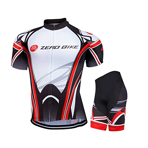 - ZEROBIKE Men's Short Sleeve Breathable Cycling Jersey 3D Padded Shorts Sportswear Suit Set Breathable Quick Dry
