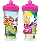Playtex Sipsters Stage 3 Spill-Proof, Leak-Proof, Break-Proof Insulated Spout Sippy Cups for Girls - 9 Ounce - 2 Count