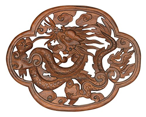 - Tribe Azure Fair Trade Dragon Hand Carved Wood Wall Hanging Sculpture Large Art Sculpture Asian Oriental Accents Decorataive Boho Home Decor