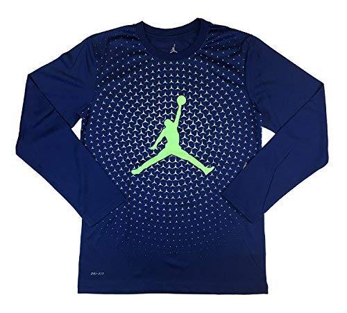 - NIKE Air Jordan DRI FIT Jersey Legend Long Sleeve T-Shirt (Insignia Blue, Medium)