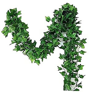 A-Decor 84 ft-12 Pack Artificial Ivy Vine Hanging Garland Fake Foliage Flowers Leaf Plants Home Garden Greenery Life-Like English Poison Ivy Wedding Party Strands Indoor Outdoor Wall Decor, Green 5
