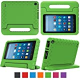 "eTopxizu Case for All-New Fire HD 8 2017 - Kids Shockproof Convertible Handle Light Weight Protective Stand Cover Case for Fire HD 8"" Display Tablet (7th Generation, 2017 Release Only), Green"