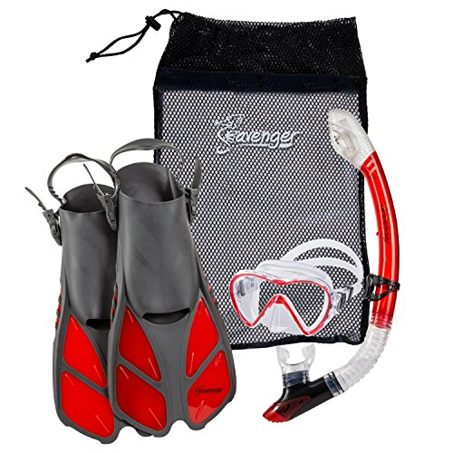 Diving Gear Aqualung - Seavenger Diving Dry Top Snorkel Set with Trek Fin, Single Lens Mask and Gear Bag, XS/XXS - Size 1 to 4 or Children 10-13, Gray/Clear Red