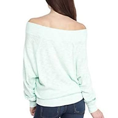 206a19ea4972a Free People Women s Palisades Thermal Seafog Off Shoulder Sweater (Medium)  at Amazon Women s Clothing store