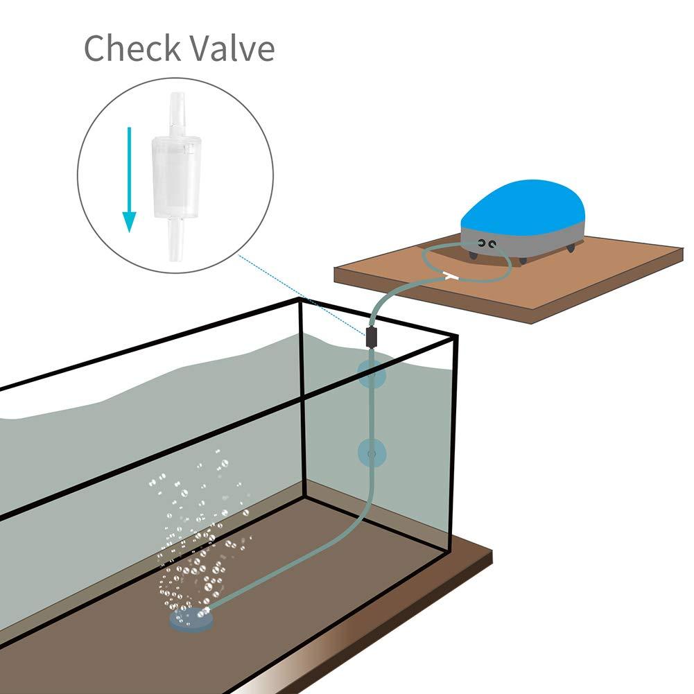 Uniclife 6 Pcs Aquarium Air Pump Check Valves Clear Plastic Fish Tank One Way Non-Return Valve