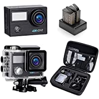 Darkeep 4K Action Camera 2.0 Inch Touch Screen 170 Degree Ultra-Wide Fisheye Lens Android IOS App Wifi Sports DV TV Out with USB 2.0 Waterproof Case